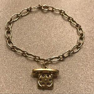 Jewelry - RARE Solid 14k Vintage Telephone Charm Bracelet
